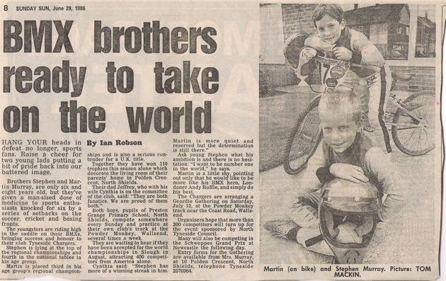 Stephen [and Martin] were set to take over the world from an early age, as this paper cutting from 1986 shows! – Stephen [front] getting ready for the World Championships.