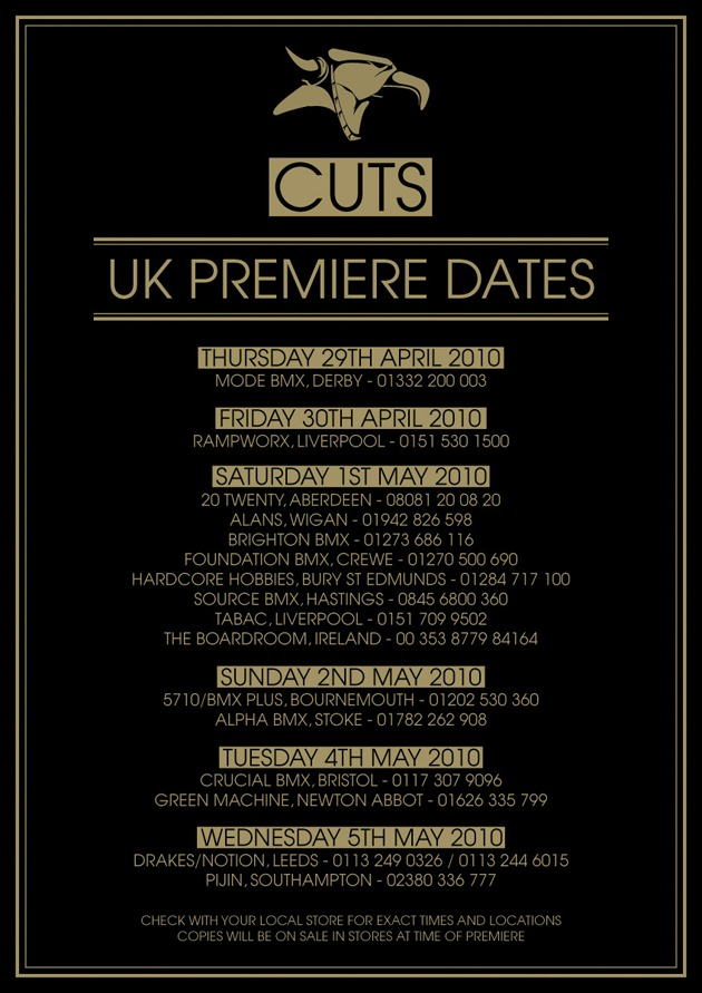 "A Bike Co ""Cuts"" UK Premiere Dates"