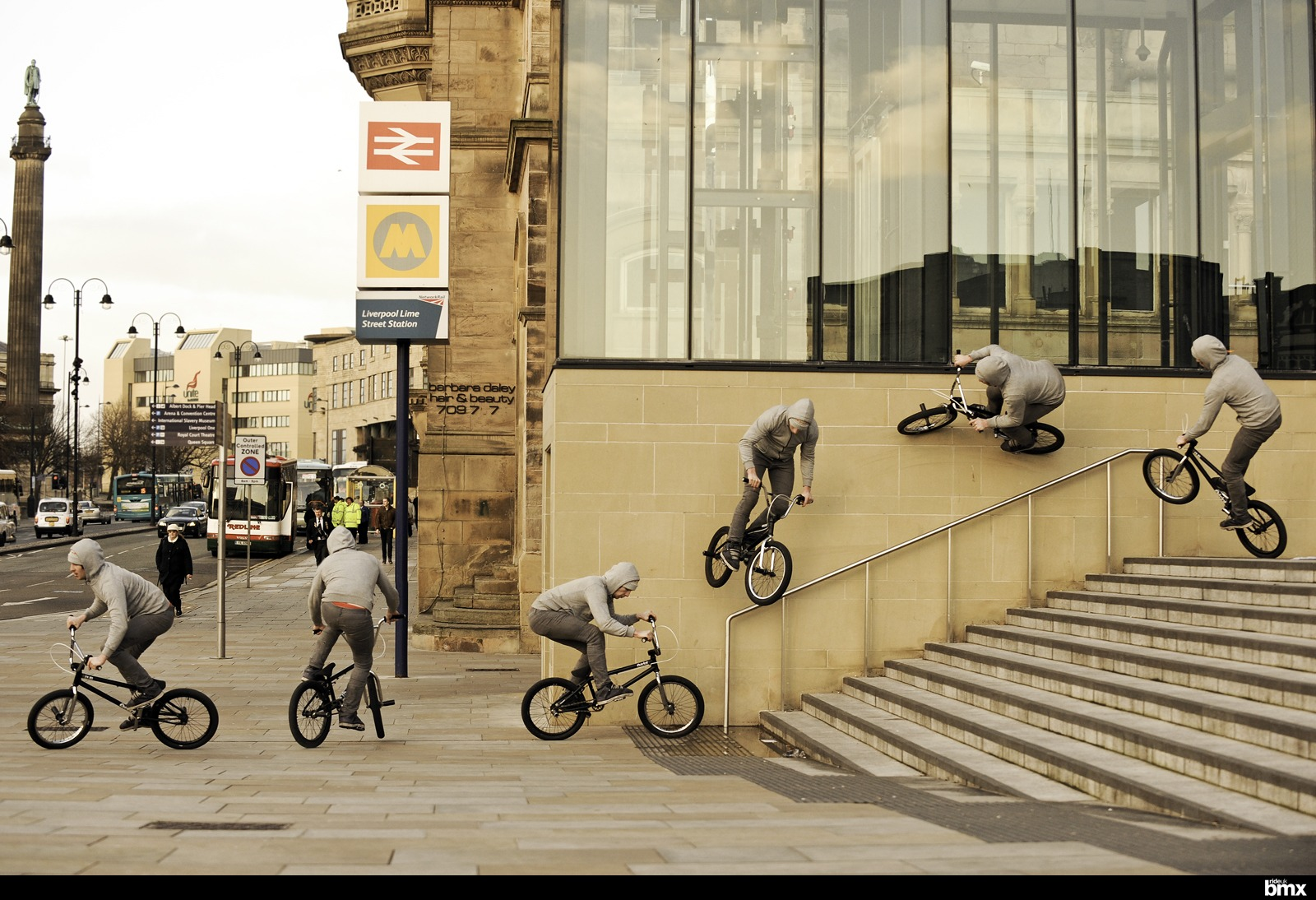 Phil Demattia wallride to 180 at Lime Street Station in his current hometown of Liverpool.
