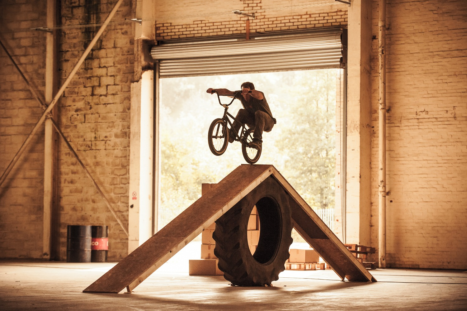 Canadian import, Jason Teet, manualled across two of these tractor tyre set-ups, one after the other. Sick guy.