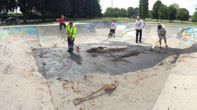 Skatepark Trashed By Vandals With Engine Oil