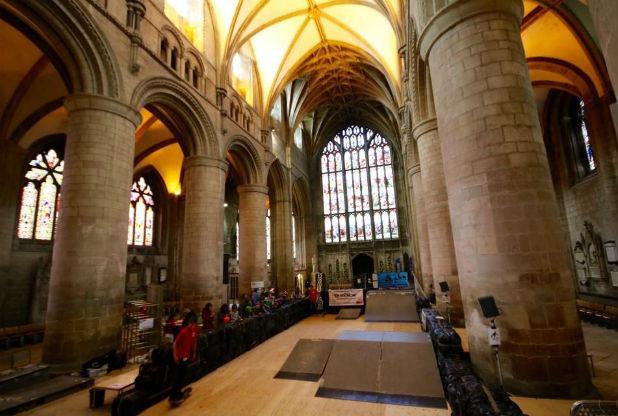 Skatepark inside Gloucester Cathedral