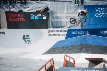 Latvian Kink BMX rep Kristaps Reimanis, wild downwhip over the flatbank hip. Photo: Nicolas Jacquemin