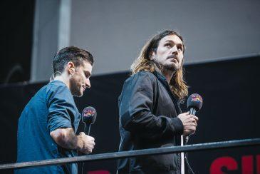 Chris Doyle and Corey Bohan hosting the Red Bull TV feed. © Nicolas Jacquemin / La Clef