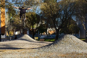 Most of Lisbon is cobbled. Mike Gray making the most of a fun spot!
