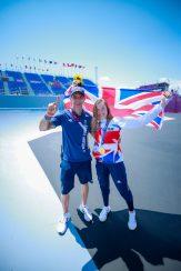 Jamie Bestwick and Charlotte Worthington, celebrating Gold